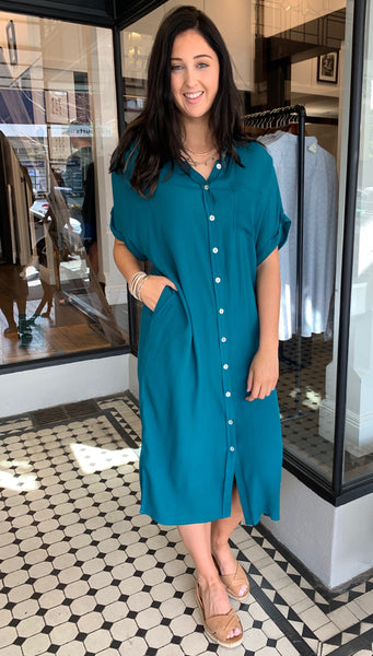Eb & Ive Ohana Shirt Dress Teal