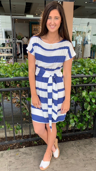Carmen Striped Dress Blue