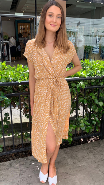 Rebecca Mock Wrap Dress Mustard