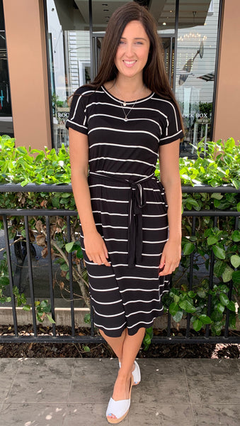 Mira Striped Midi Dress Black