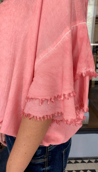 Mia Mineral Washed Layered Sleeve Top Rose Pink