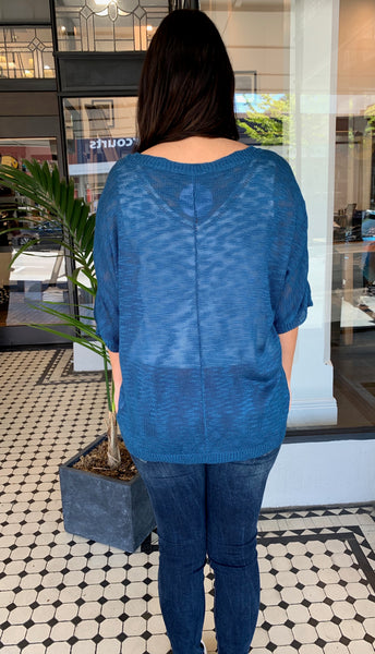Luxe Pocket Knit Top Teal