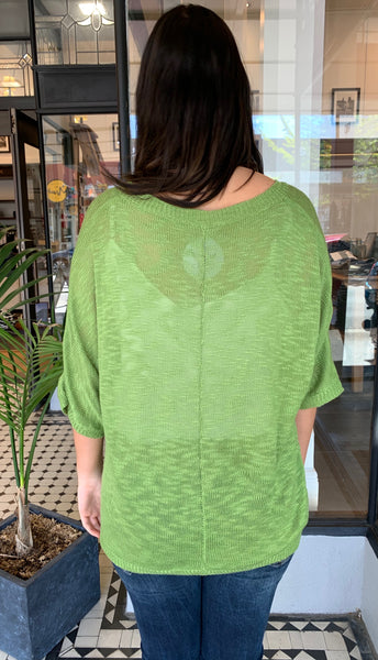 Luxe Pocket Knit Top Green