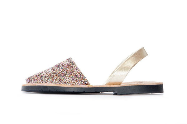 Lovelee Multi Gold Glitter Sandals