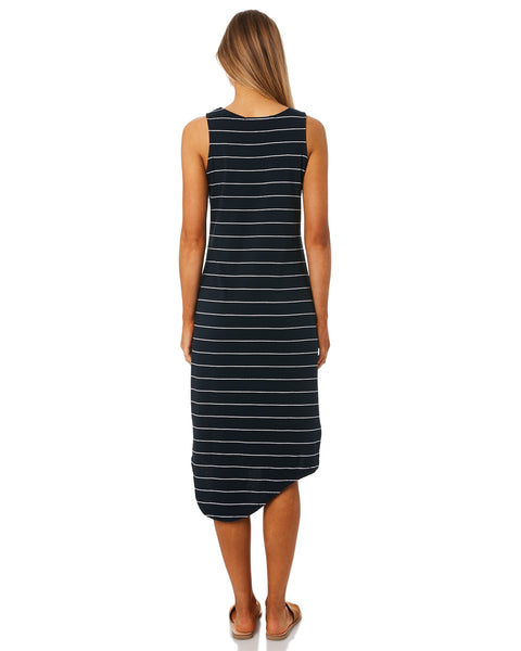 Silent Theory One In Eight Midi Dress Navy/White Stripe