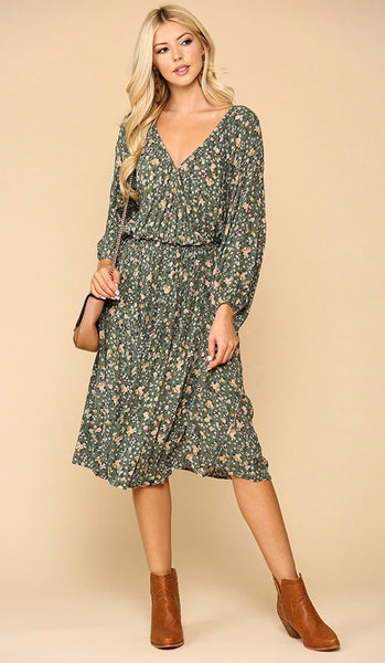 Ditsy Floral Wrap Dress Dusty Green