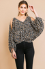 Animal Print Cold Shoulder Top Black