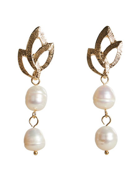 Luxe Drop Earrings Pearl Leaf