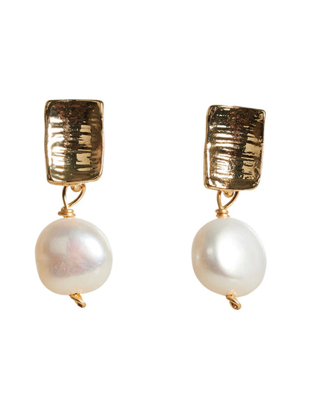 Luxe Drop Earrings Pearl Mini