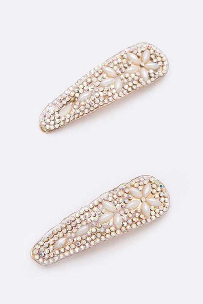 HA025 Diamante Pearl Clip Set Gold