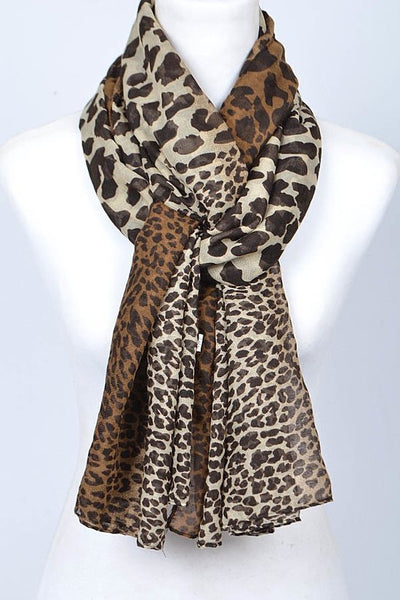 FMS011 Leopard Print Scarf Brown