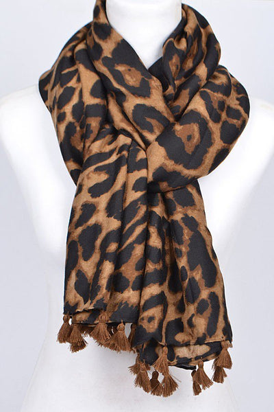 FMS005 Animal Print Scarf Brown Leopard