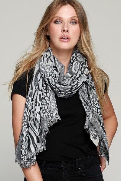 FMS007 Mixed Animal Print Scarf Leopard Black