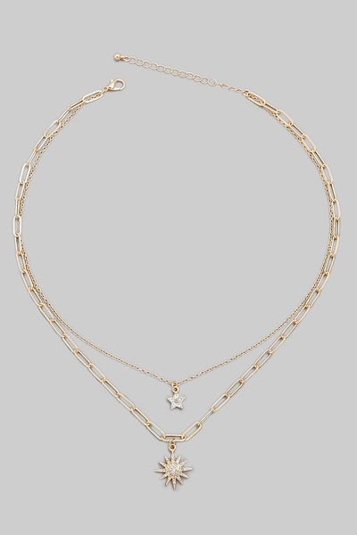FMN081 Layered Necklace Star Gold