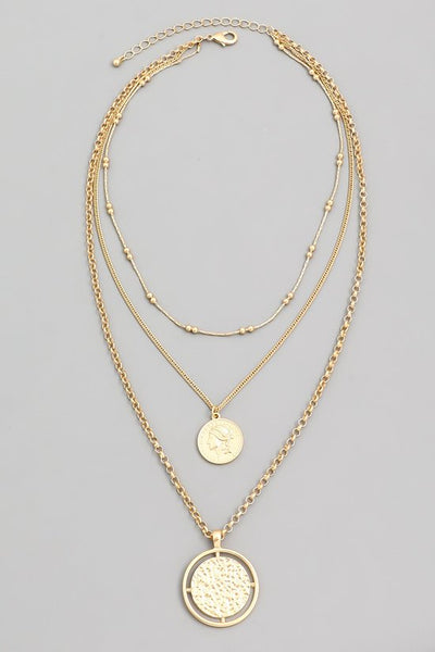 FMN083 Layered Coin Necklace Gold