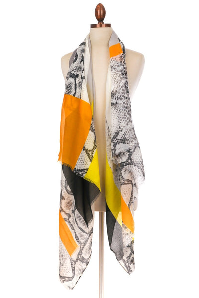 FMS008 Mixed Print Scarf Yellow