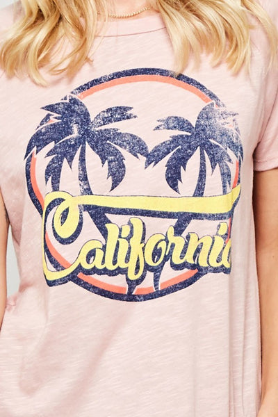 California Palm Tree Tee Pink