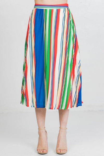 Buenos Aires Pleated Striped Skirt