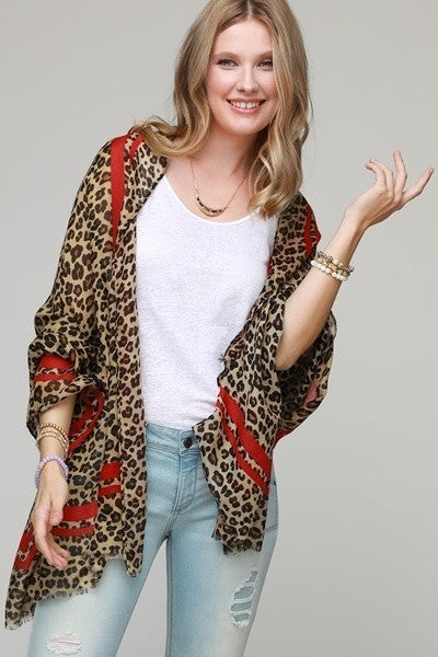 FMS010 Leopard Print Scarf Red