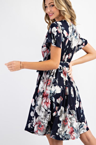 Zoey Floral Dress Navy