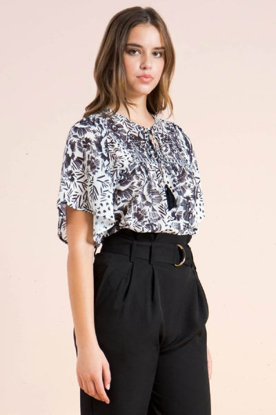 Mi Mia Tassel Tie Top Black