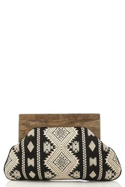 Bag012 Embroidered Beaded Clutch with Wood Handle