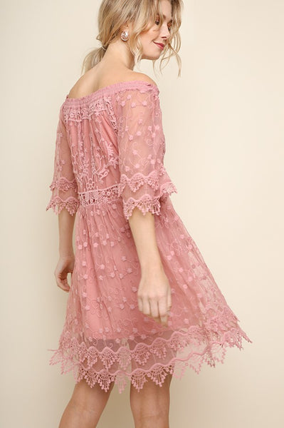 Ellie Lace Off the Shoulder Dress  DUSTY ROSE