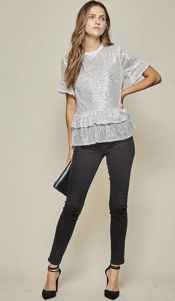 Night Out Sequin Ruffle Top Silver