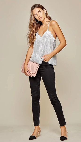 Night Out Sequin Cami Silver