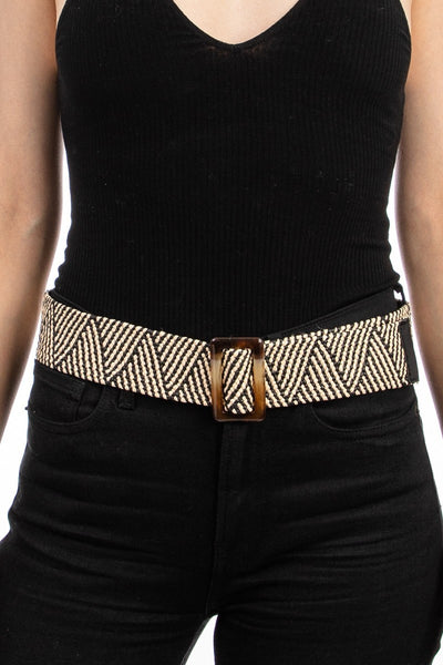 Belt006 Black Natural Zig Zag
