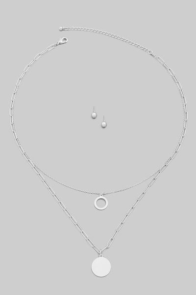FMN079 Layered Circle Necklace Silver