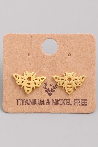 Kids Bee Studs Gold