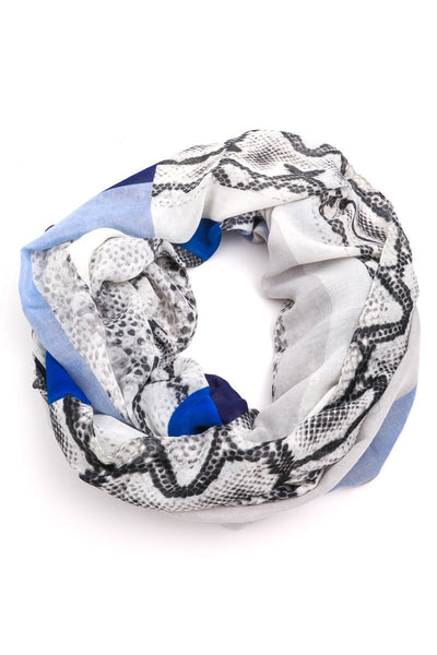 FMS008 Mixed Print Scarf Blue