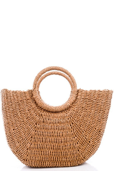 Bag008 Half Round Wicker Bag Tan