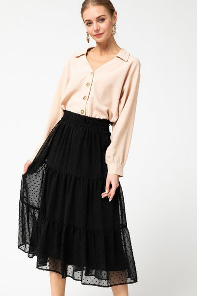 Paris Tiered Dotted Midi Skirt Black