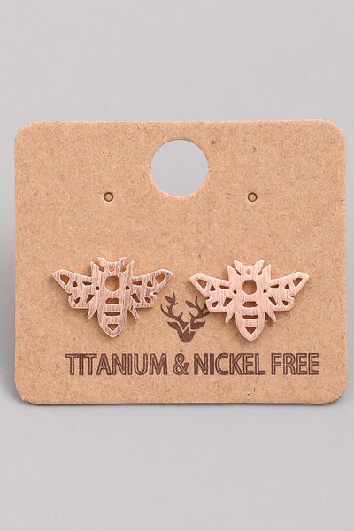 Kids Bee Studs Rose Gold