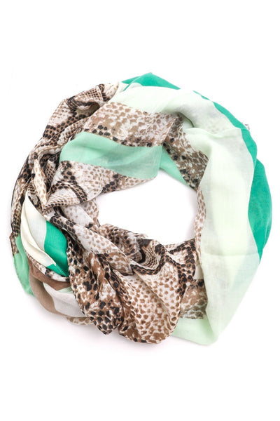 FMS008 Mixed Print Scarf Green