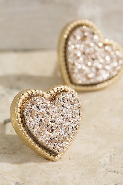 UBS023 Druzy Heart Studs Rose Gold