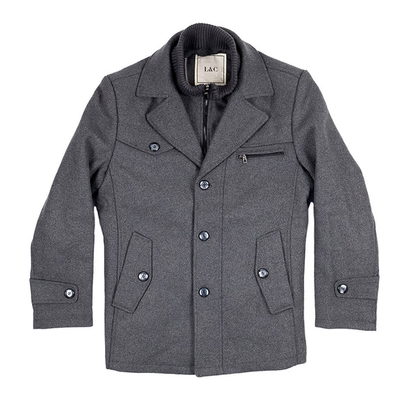 The Ellis Peak Quilted Short Trench Grey