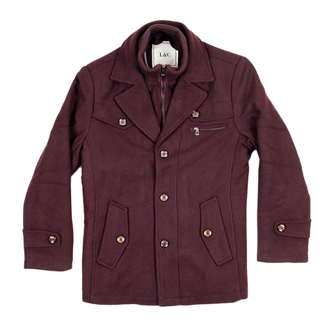 The Ellis Peak Quilted Short Trench Maroon