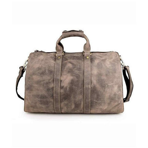 Bags - Grey Leather Weekender Bag