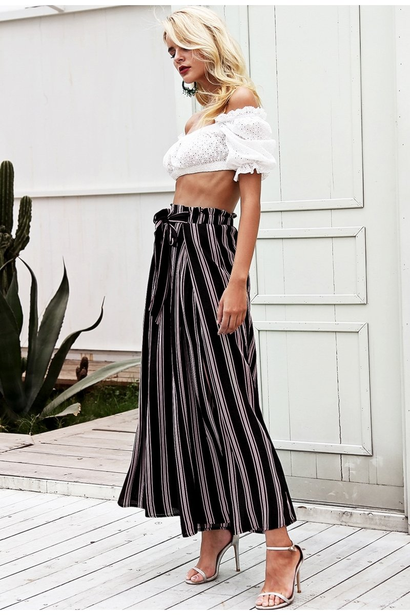 Bottoms - High Waist Split Leg Pants