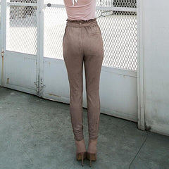 Bottoms - Suede High-Waisted Pants