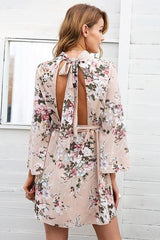 Dresses - Backless Flare Sleeve Dress