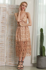Dresses - Hollowed-out Lace Dress