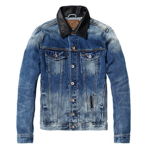 Leather Collar Denim Jacket