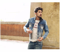 Jackets - Leather Collar Denim Jacket