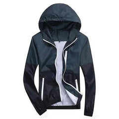 Outerwear - Color-Block Windbreaker Dark Blue/Navy