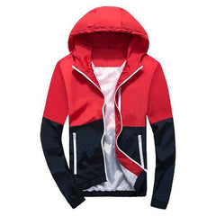 Outerwear - Color-Block Windbreaker Red/Navy