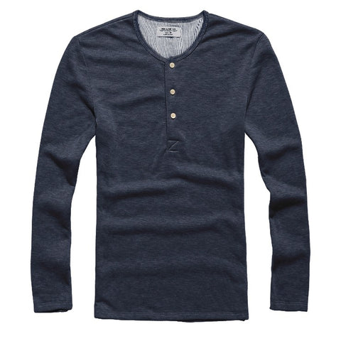 Temp Control Cotton Lycra Henley Navy